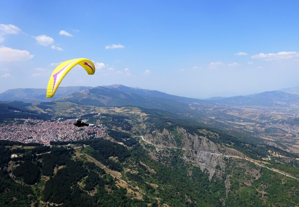 Paraglider flying in Macedonia